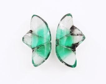 Trapiche Emerald (superb matched pair) / Butterfly Wings - Muzo Mine, Mun. de Muzo, Boyaca Department, Colombia