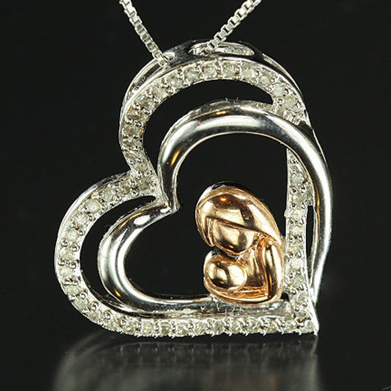 Mother and Child Heart Pendant in Silver, Nickel and Bronze with Diamonds  - WITH FREE CHAIN