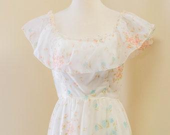 Vintage White Floral Dress Size 8