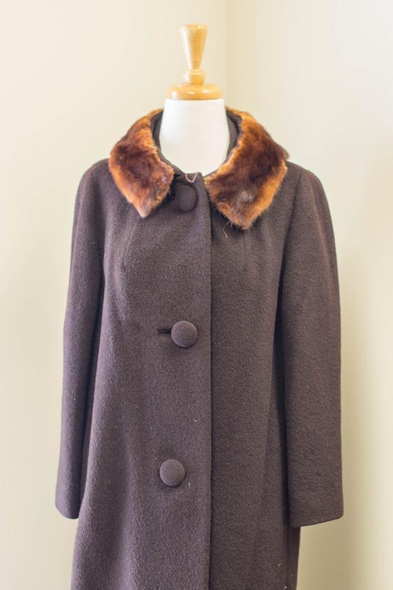 Vintage Brown Fur-Lined Winter Coat