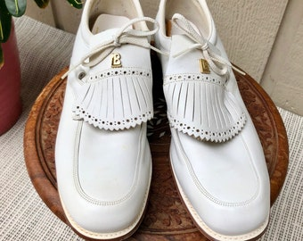 Women's Golf Shoes Lazy-Bones 9.5 Leather Like New Metal Spikes Vintage 80's FREE SHIPPING to USA