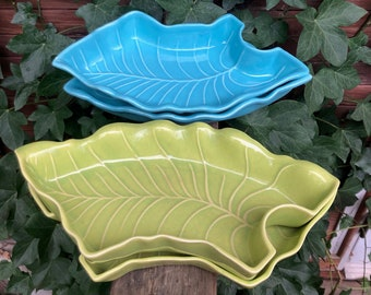 Vintage California Pottery for Lazy Susan Dish Retro Blue Green Leaves
