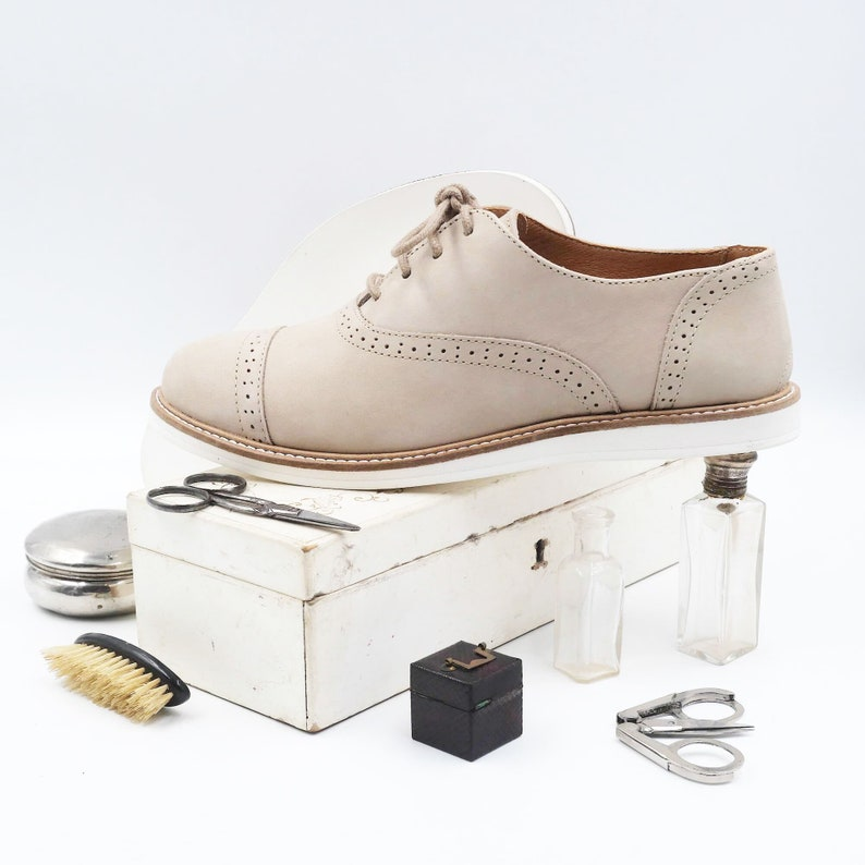 1920s Style Shoes, Heels, Boots Women Swing Dance Shoes in Beige Swivels $214.09 AT vintagedancer.com