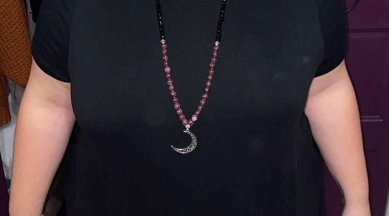 Celestial Theme Long Beaded Moon Necklace Witchy Vibes Tiger Eye Garnet Gemstone