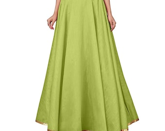Blue Girls Fully Stitched Tafetta Wedding Lehenga Women Elastic Skirt Poly Silk Readymade Petticoat Fabric Craft Indian