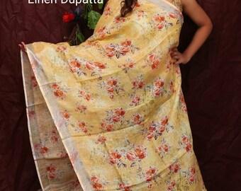 Pure Linen Dupatta Designer Stole Hijab Chunni Fabric craft Digital Floral Printed Latest Weaving Work sari Choli Women Indian Wedding Wear