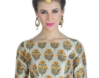 Multi Readymade Saree Blouse Durga Puja New Heavy Beaded Work Women/'s Art Silk Saree Blouse Sari Indian Tunic Top Choli Shirt Round Neck