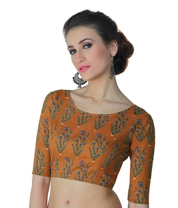Blue Pure Cotton Jaipuri Block Printed Boat Neck Elbow Length Sleeves New Indian Designer Readymade Blouse For Women Wear Top Tunic Sari