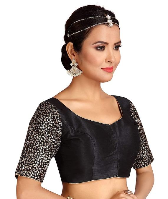 Black Readymade Polyester Stitched Wedding Christmas Party Wear Saree ROUND NECK Blouse Crop Sari Top For Women