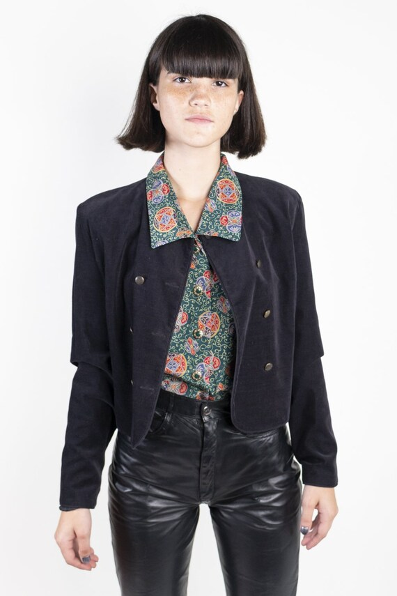 Black Double Breasted Jacket by Laura Ashley 1970s