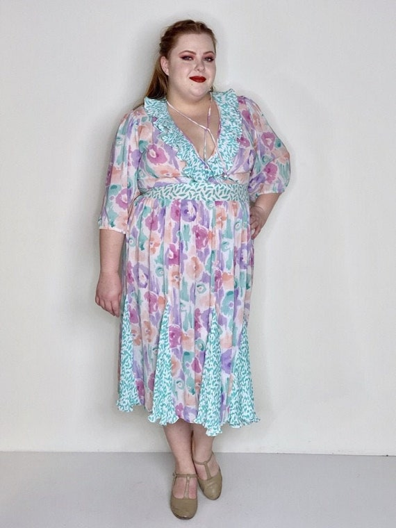 Curvy Sheer Floral Pastel Dress by Assorti 1980s