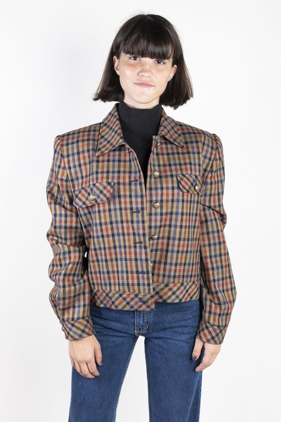 Plaid Cropped Jacket by Doncaster 1980s