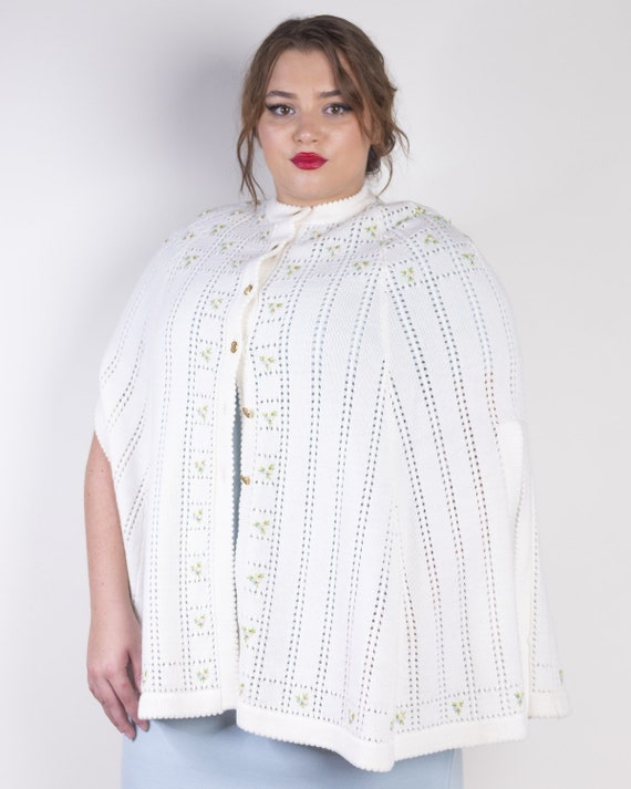 Embroidered Knit Sweater Poncho Cape by Sweater Be
