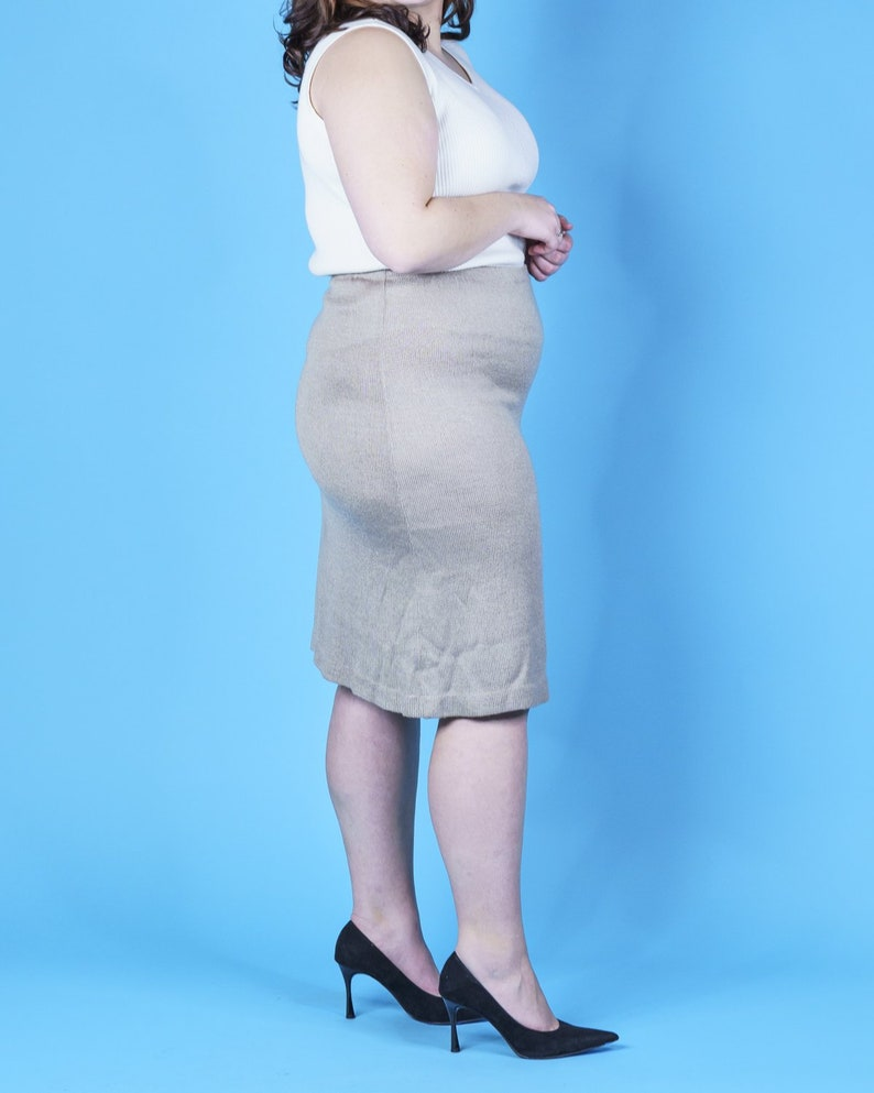 Taupe Knit Midi Skirt