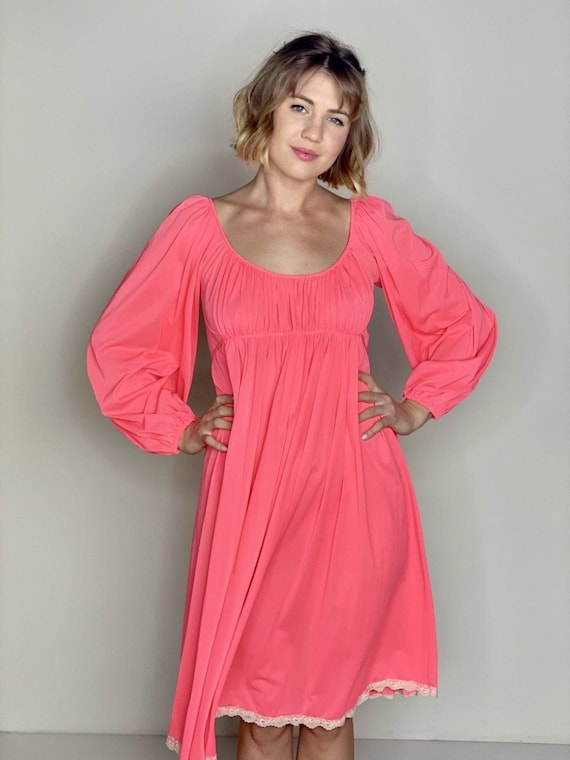 Coral Empire Waist Dress 1960s