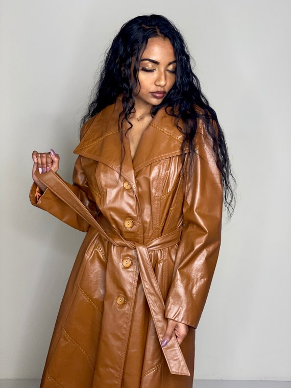 Camel Brown Leather Tie Trench Coat 1970s - image 3