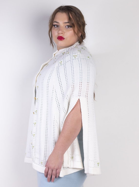 Embroidered Knit Sweater Poncho Cape by Sweater B… - image 2
