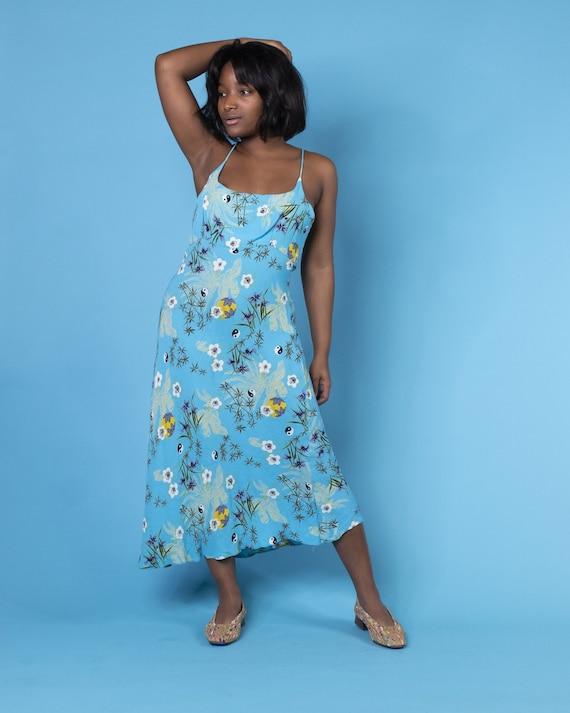 Sky Blue Yin Yang Pattern Slip Dress by Angie 1990