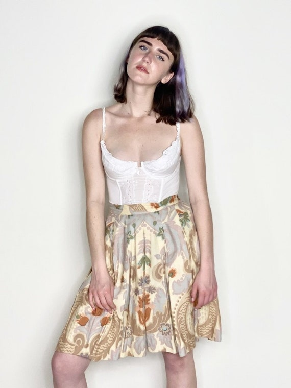 Neutral Pleated Floral Print Skirt 1980s
