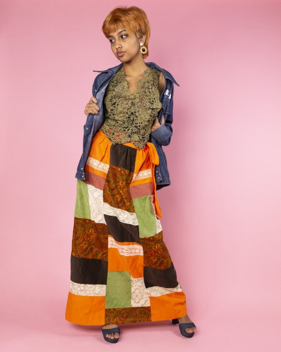 Orange Patchwork Maxi Skirt 1970s