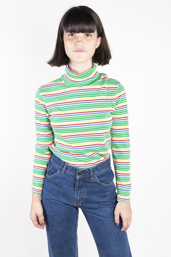 Colorful Striped Turtle Neck by SKYR 1970s