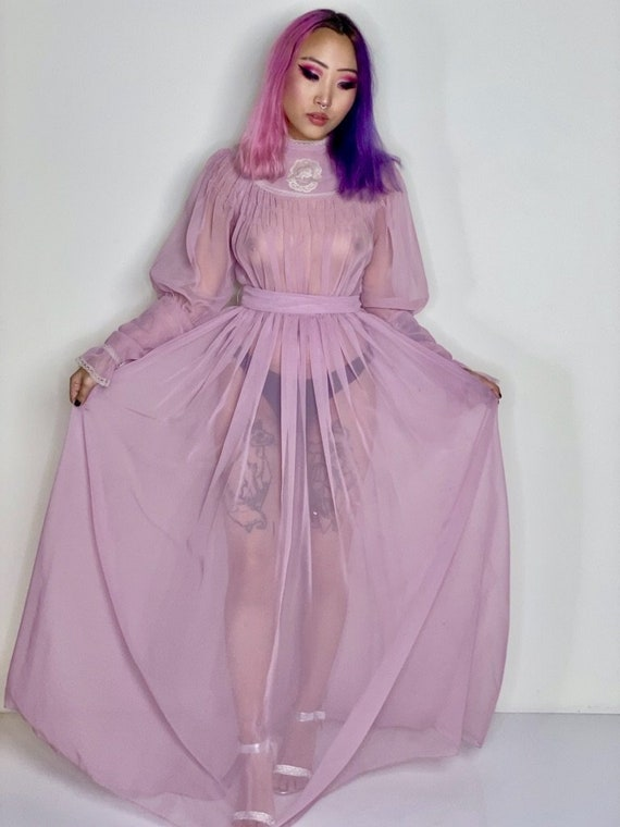 Lavender Transparent Maxi Peasant Dress 1970s