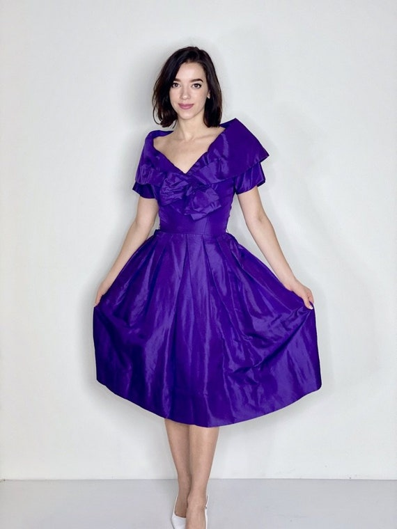 Purple Pleated Dress by Suzy Perette 1950s