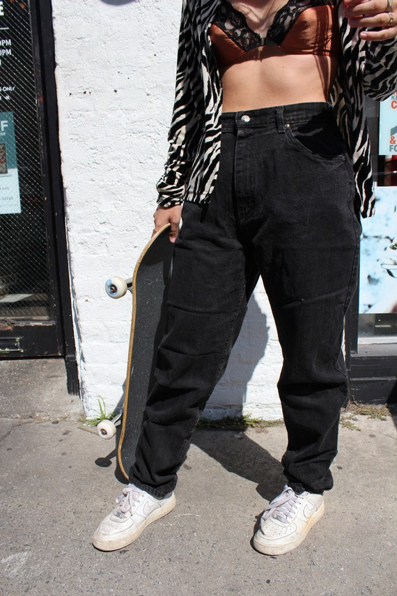 Black High Waisted Denim Jeans By Lee 1980s