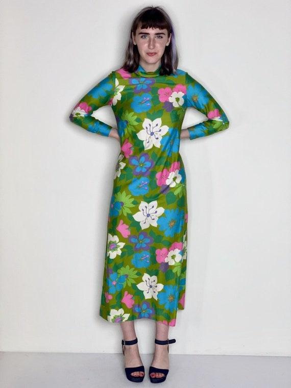 Floral Maxi Hawaiian Dress 1960s