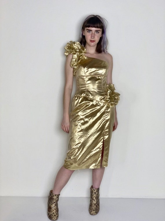 Metallic Gold Prom Cocktail Dress by Mike Benet 19