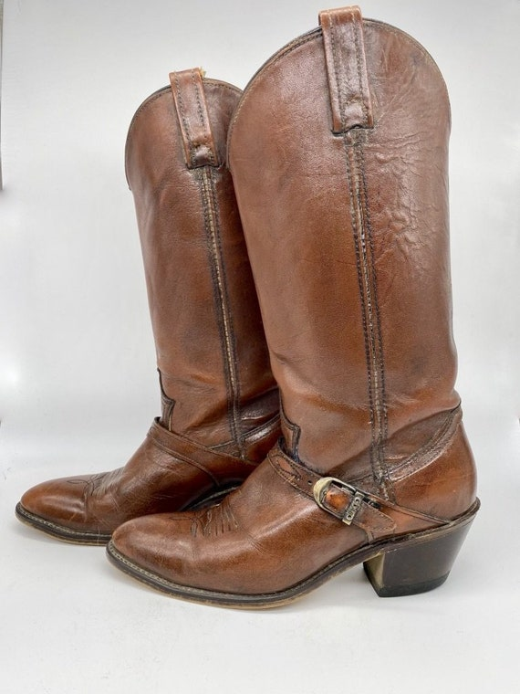 Brown Leather Cowboy Boots by Dingo 1980s