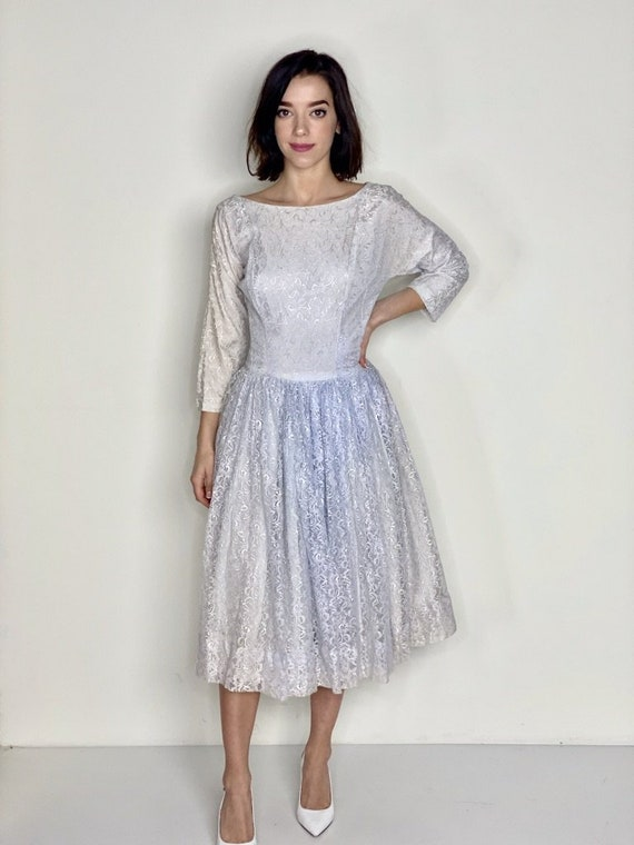 Light Blue Lace Tea Length Dress 1950s