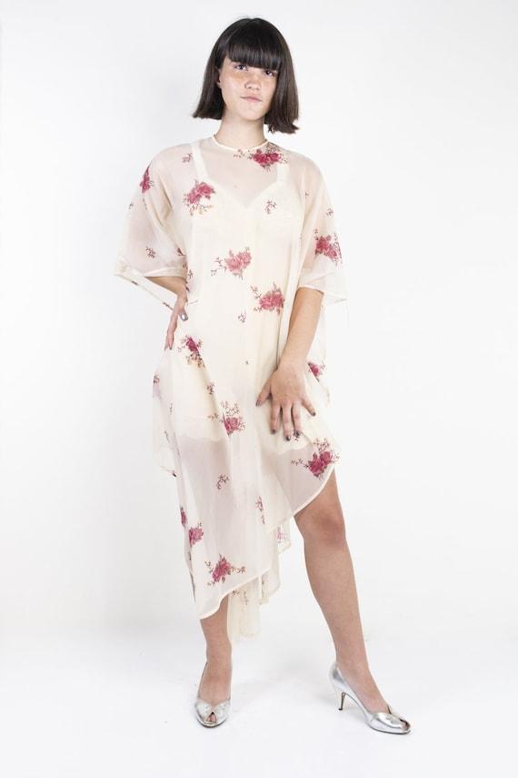 Cream and Pink Floral Sheer Boho Kaftan Dress 1970