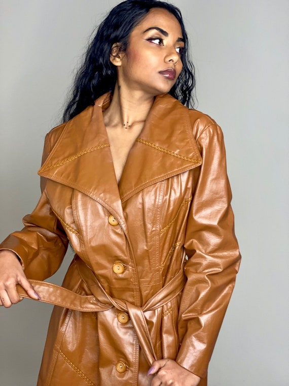 Camel Brown Leather Tie Trench Coat 1970s - image 2