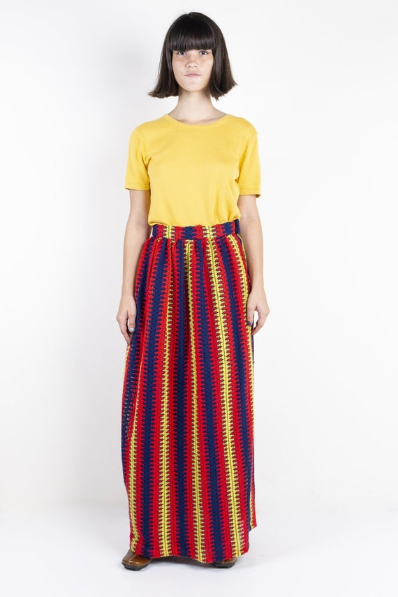 Red, Yellow & Navy Blue Custom Embroidered Maxi Sk