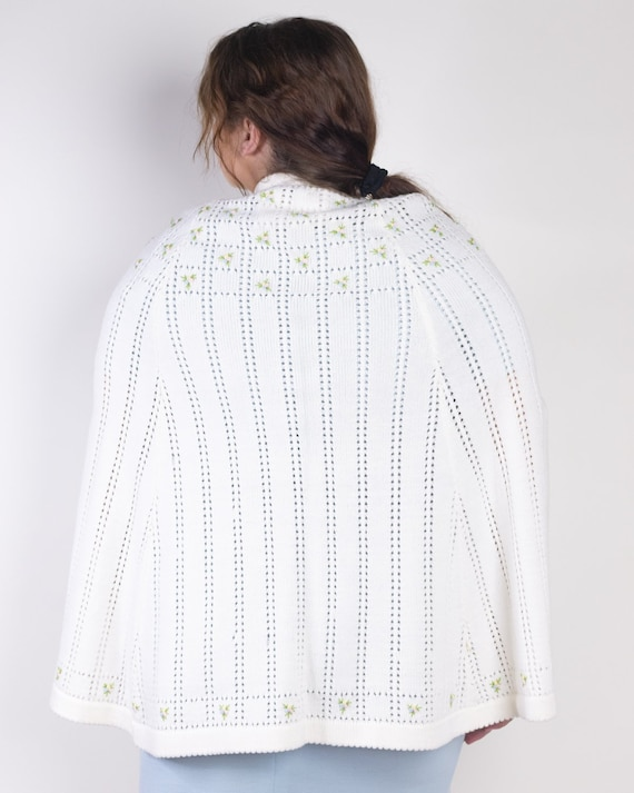 Embroidered Knit Sweater Poncho Cape by Sweater B… - image 3