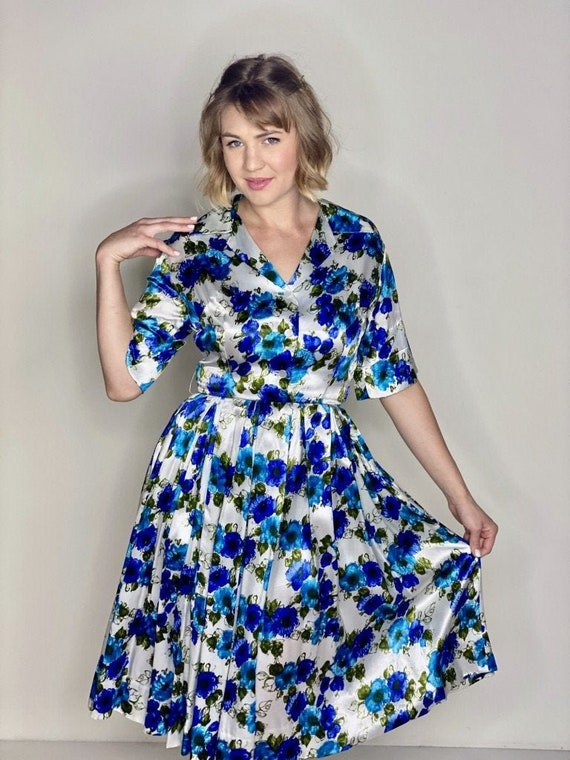 Blue Floral Stain Shirtdress 1950s