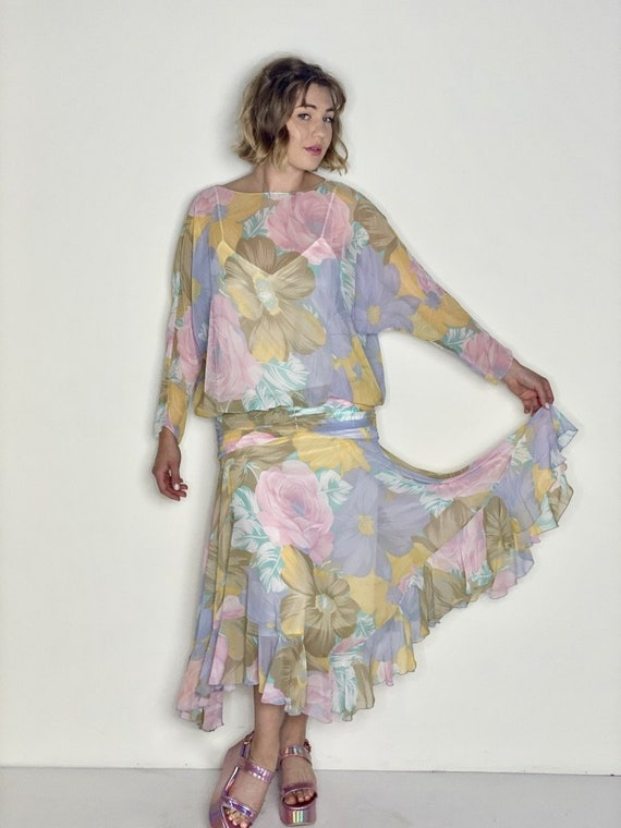 Floral Pastel Drop Waisted Dress 1980s