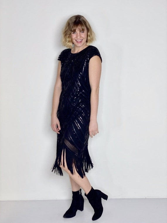 Black Sequin 1920s Inspired Fringe Dress 1990s