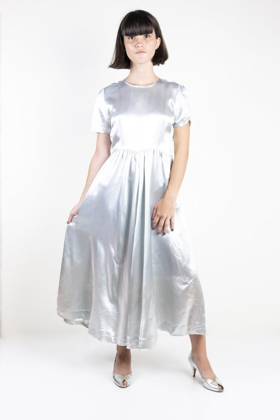 Silver Liquid Satin Midi Dress with Cap Sleeves 19