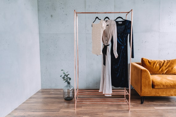 Rose Gold Copper Clothing Rail With, Rose Gold Garment Rack