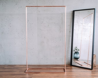 Rose Gold Minimal Pipe Clothing Rail / Industrial Copper Garment Rack / Clothes Storage / Rose Gold Retail Display