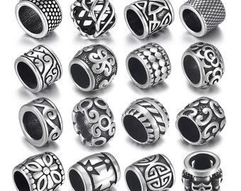 4Pcs Stainless Steel Paracord Beads Fit 8mm Large Hole Sliders Bead Bracelet Jewelry Making DIY Spacer Knife Lanyard Accessories