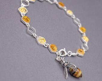 Flight of the Honey Bee Beaded Honey Bee Bracelet Amber Color Glass Antique Brass Bee Charm Bracelet Charming Boho