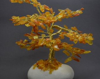 Handmade Amber Tree  Multicolour Baltic Amber Tree  Cognac Butterscotch Amber Leaves Tree on Birch  Amber Tree Gift  Amber Bonsai Tree