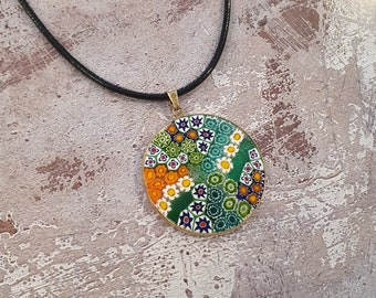 Necklace with big Millefiori pendant, Murano glass, available in many colors.