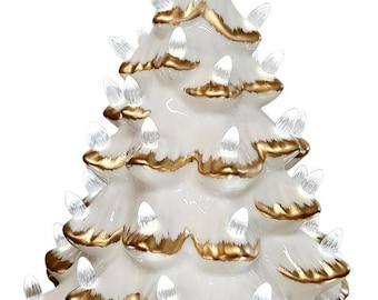 Ceramic Christmas Tree With Lights: Vintage Ceramic Tree Hand Painted with Gold Trim