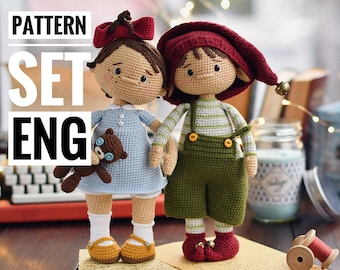 Amigurumi toys cute couple  Santa's helper Pip & little Valentine Knopka, SET of  PDF ENGLISH crochet patterns