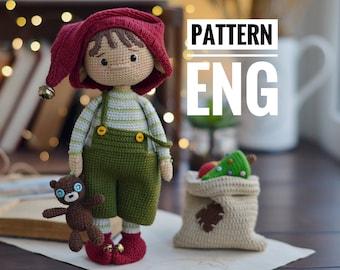 Little Santa's helper crochet toy cute christmas elf, PDF ENGLISH pattern