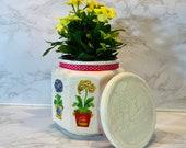 Floral plant holder, container, storage jar, floral cannister, kitchen storage, bathroom storage, handmade, decoupage crackle free shipping